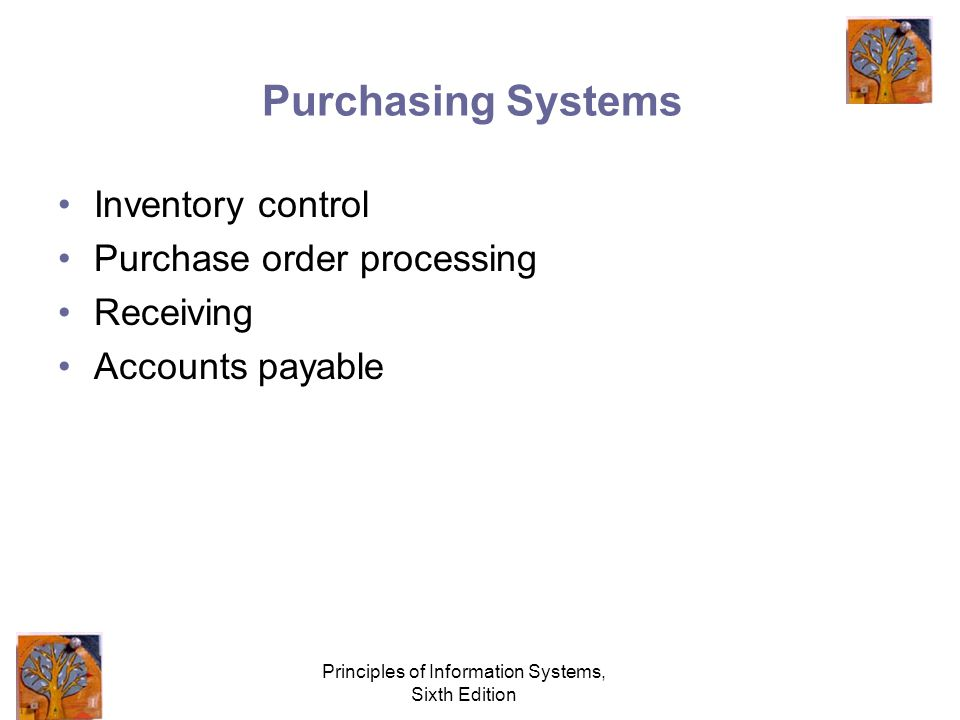 Principles of Information Systems, Sixth Edition Purchasing Systems Inventory control Purchase order processing Receiving Accounts payable