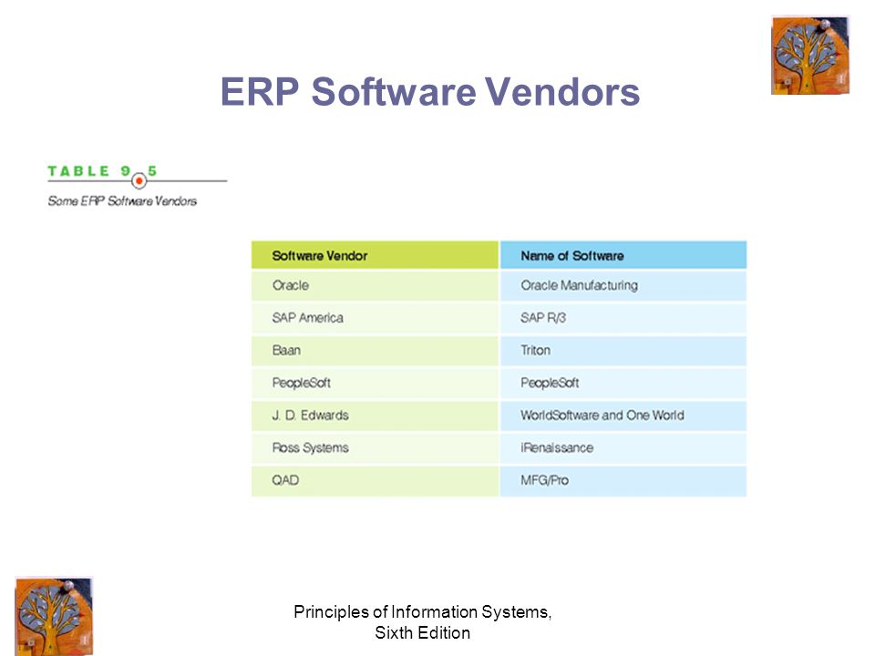 Principles of Information Systems, Sixth Edition ERP Software Vendors
