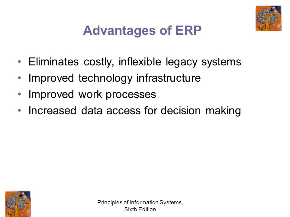 Principles of Information Systems, Sixth Edition Advantages of ERP Eliminates costly, inflexible legacy systems Improved technology infrastructure Improved work processes Increased data access for decision making