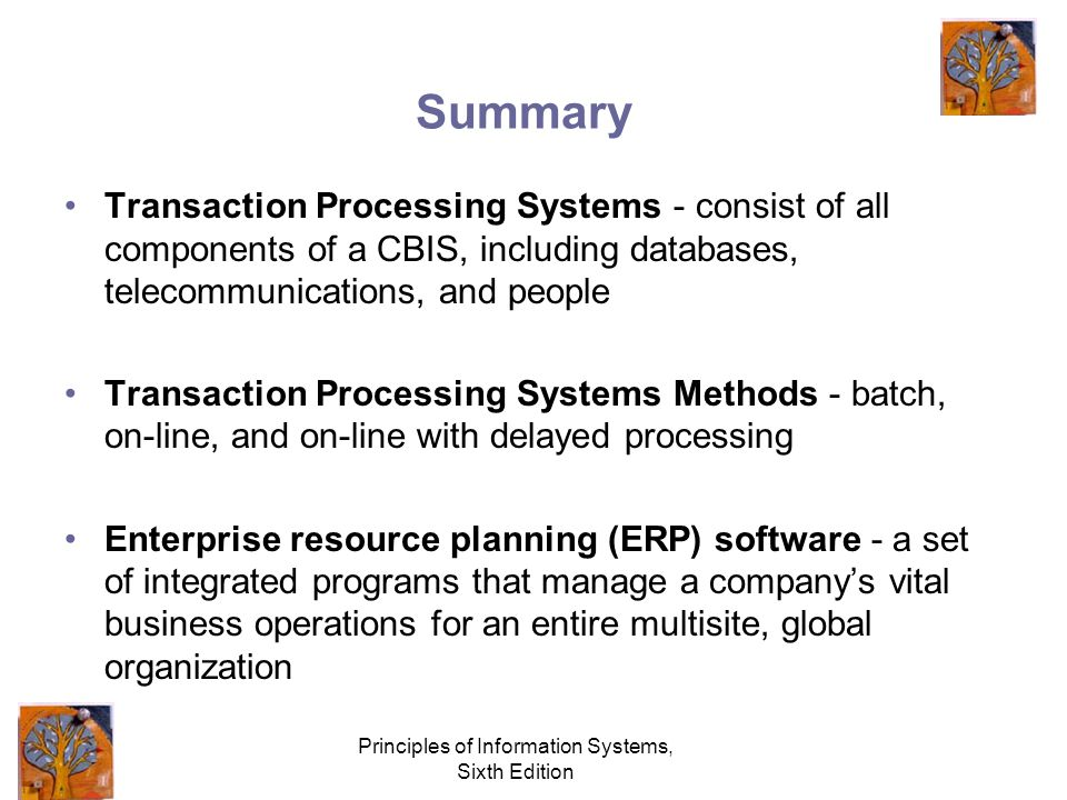 Principles of Information Systems, Sixth Edition Summary Transaction Processing Systems - consist of all components of a CBIS, including databases, telecommunications, and people Transaction Processing Systems Methods - batch, on-line, and on-line with delayed processing Enterprise resource planning (ERP) software - a set of integrated programs that manage a company's vital business operations for an entire multisite, global organization