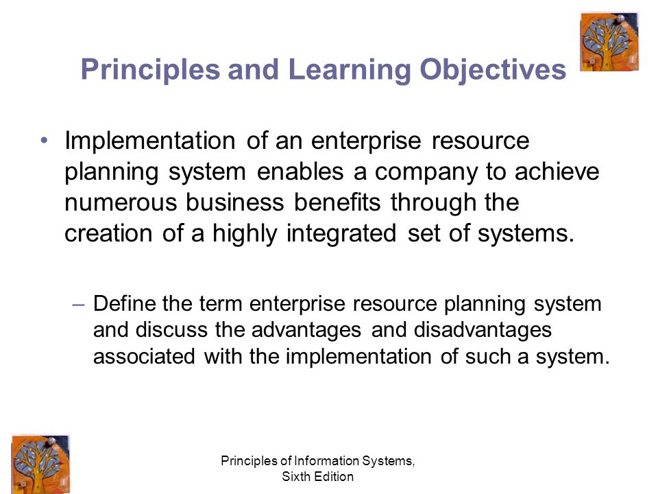 Principles of Information Systems, Sixth Edition Principles and Learning Objectives Implementation of an enterprise resource planning system enables a company to achieve numerous business benefits through the creation of a highly integrated set of systems.