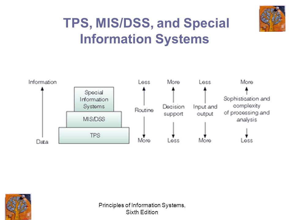 Principles of Information Systems, Sixth Edition TPS, MIS/DSS, and Special Information Systems