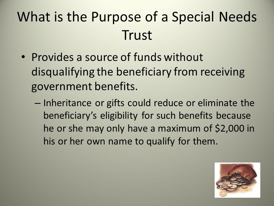 What is the Purpose of a Special Needs Trust Provides a source of funds without disqualifying the beneficiary from receiving government benefits.