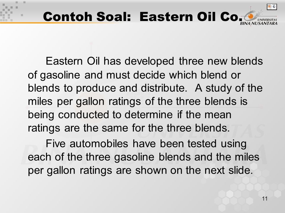 11 Contoh Soal: Eastern Oil Co.