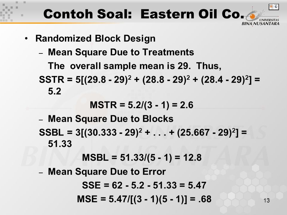13 Contoh Soal: Eastern Oil Co.