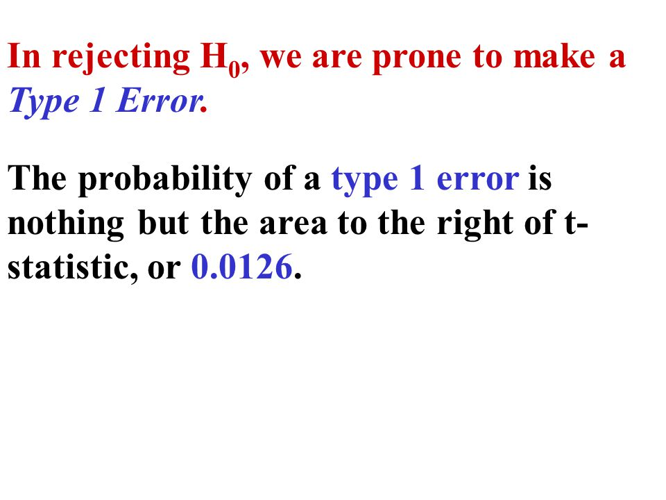 The probability of a type 1 error is nothing but the area to the right of t- statistic, or