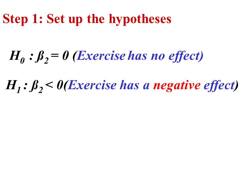 Step 1: Set up the hypotheses H 0 : ß 2 = 0 (Exercise has no effect) H 1 : ß 2 < 0(Exercise has a negative effect)