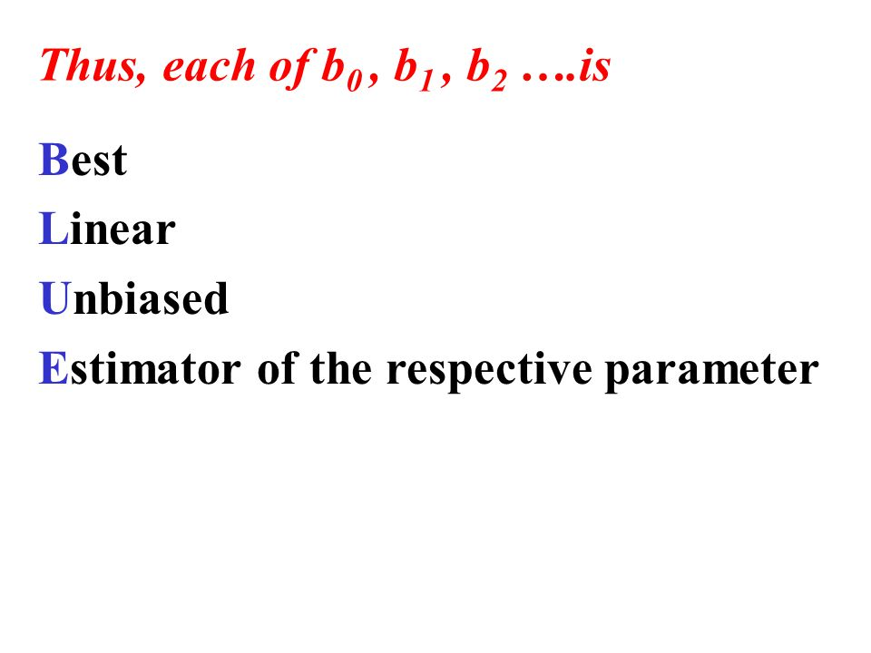 Best Linear Unbiased Estimator of the respective parameter Thus, each of b 0, b 1, b 2 ….is