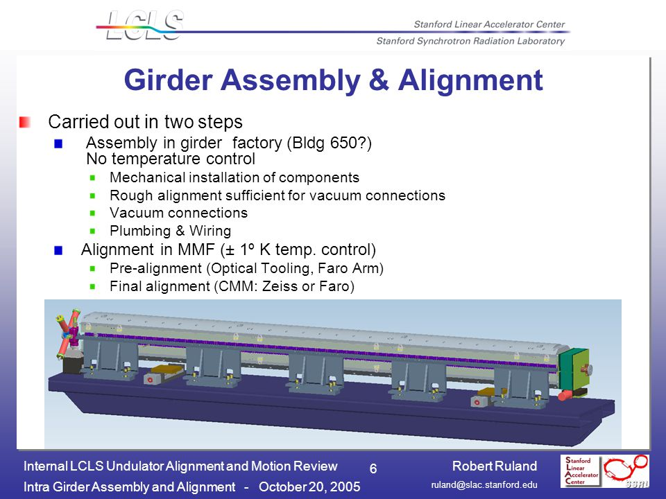 Robert Ruland Intra Girder Assembly and Alignment - October 20, 2005 Internal LCLS Undulator Alignment and Motion Review 6 Girder Assembly & Alignment Carried out in two steps Assembly in girder factory (Bldg 650 ) No temperature control Mechanical installation of components Rough alignment sufficient for vacuum connections Vacuum connections Plumbing & Wiring Alignment in MMF (± 1º K temp.