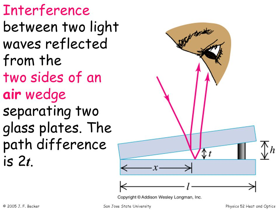 Interference between two light waves reflected from the two sides of an air wedge separating two glass plates.