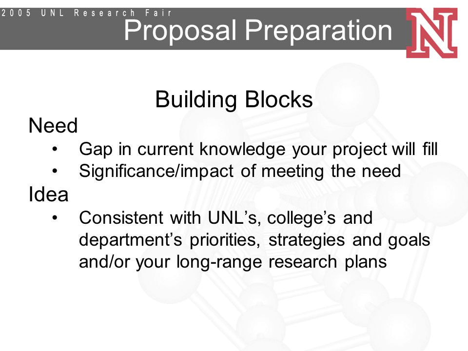 Proposal Preparation Building Blocks Need Gap in current knowledge your project will fill Significance/impact of meeting the need Idea Consistent with UNL's, college's and department's priorities, strategies and goals and/or your long-range research plans