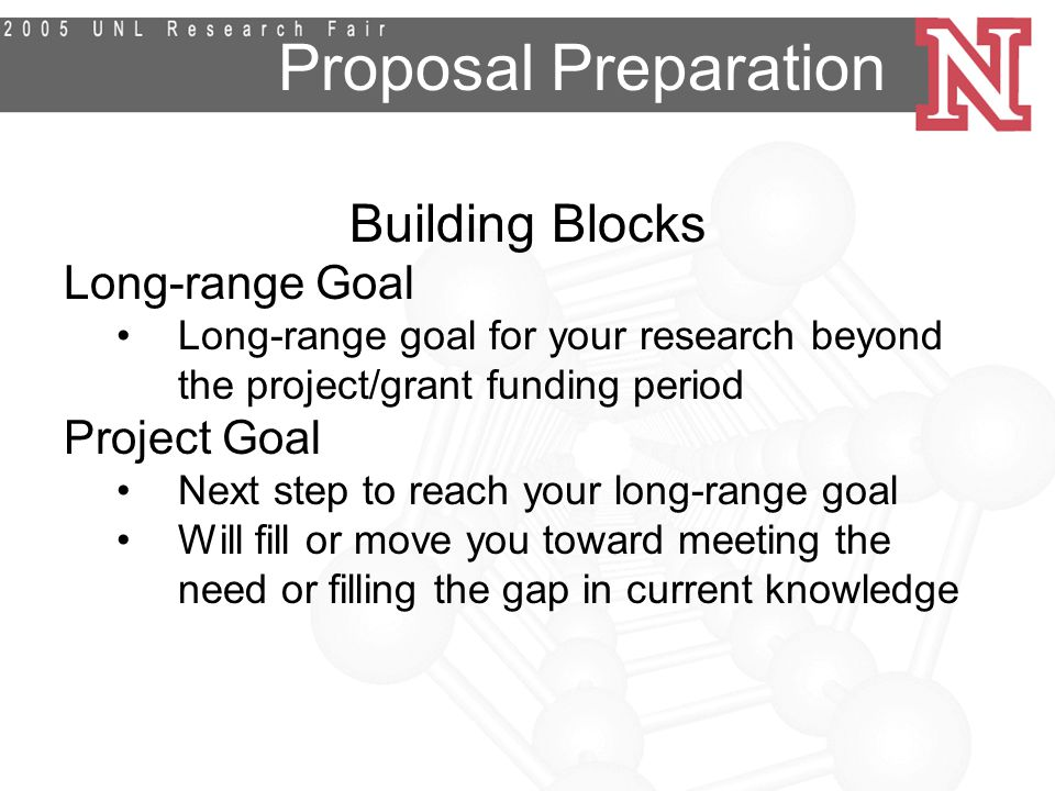 Proposal Preparation Building Blocks Long-range Goal Long-range goal for your research beyond the project/grant funding period Project Goal Next step to reach your long-range goal Will fill or move you toward meeting the need or filling the gap in current knowledge