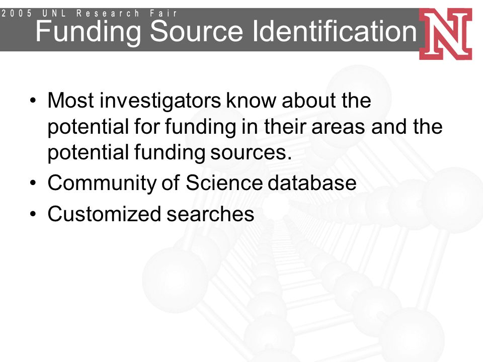 Funding Source Identification Most investigators know about the potential for funding in their areas and the potential funding sources.