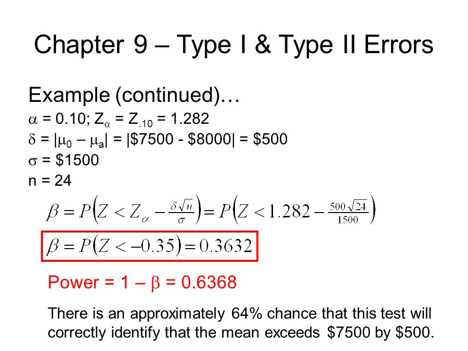 Chapter 9 – Type I & Type II Errors Example (continued)…  = 0.10; Z  = Z.10 =  = |  0 –  a | = |$ $8000| = $500  = $1500 n = 24 Power = 1 –  = There is an approximately 64% chance that this test will correctly identify that the mean exceeds $7500 by $500.