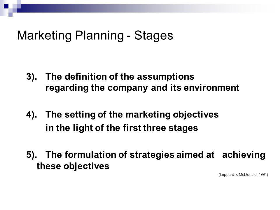 Marketing Planning - Stages 3).