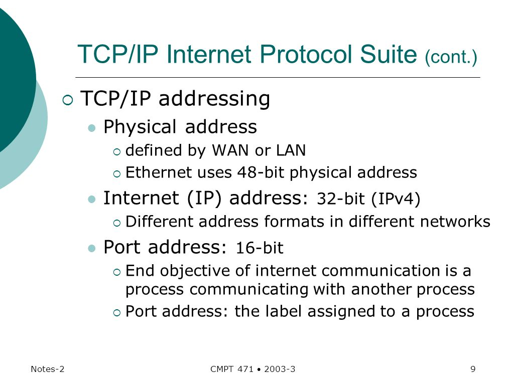 Notes-2 CMPT 471  TCP/IP Internet Protocol Suite (cont.)  TCP/IP addressing Physical address  defined by WAN or LAN  Ethernet uses 48-bit physical address Internet (IP) address : 32-bit (IPv4)  Different address formats in different networks Port address : 16-bit  End objective of internet communication is a process communicating with another process  Port address: the label assigned to a process