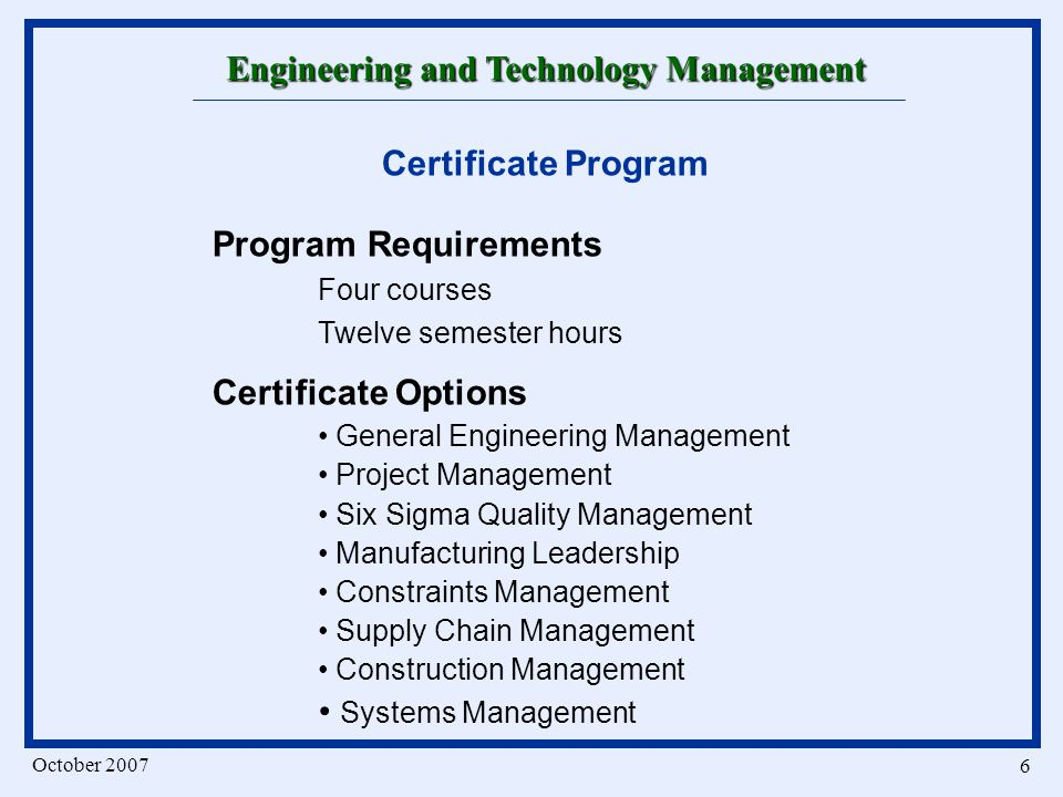 Engineering And Technology Management A Program In Technical