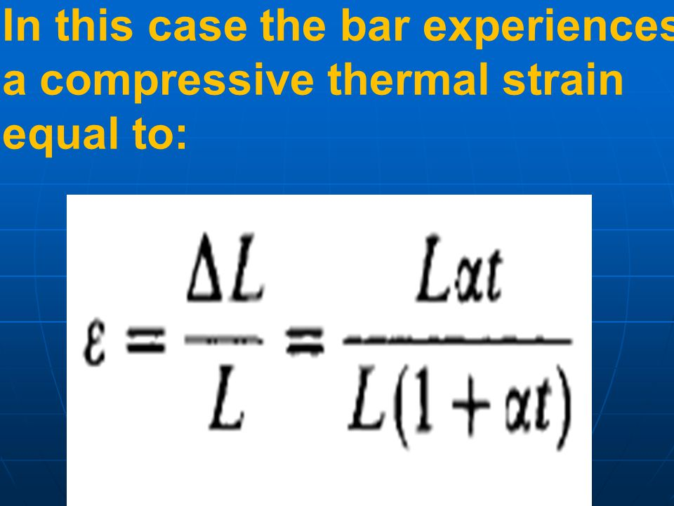 In this case the bar experiences a compressive thermal strain equal to: