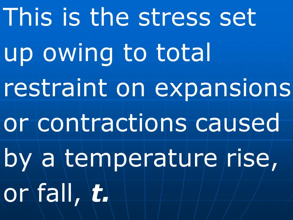 This is the stress set up owing to total restraint on expansions or contractions caused by a temperature rise, or fall, t.