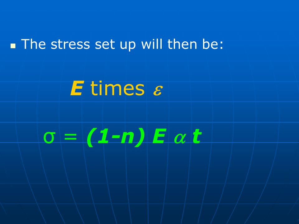The stress set up will then be: E times  σ = (1-n) E  t