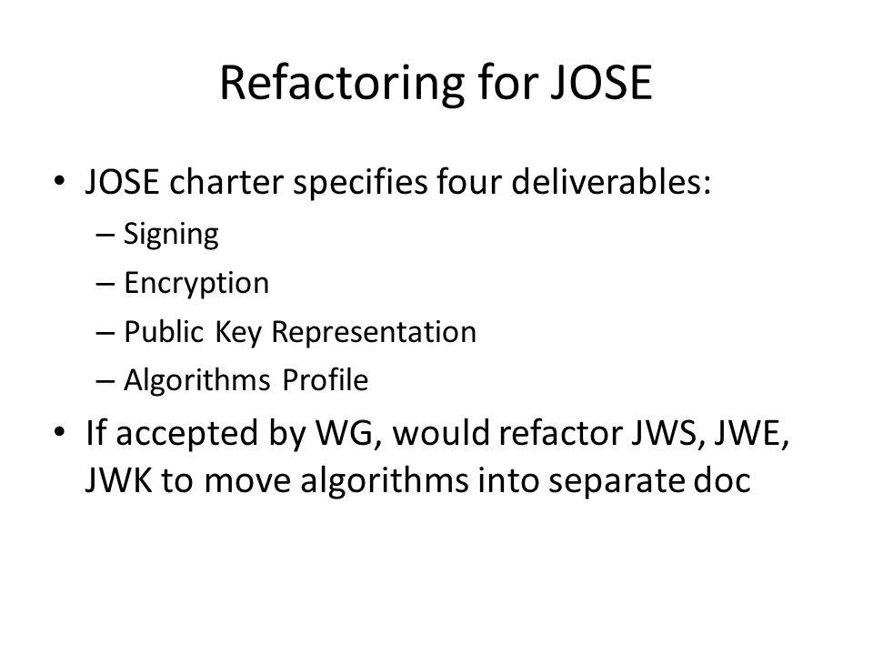Proposed Documents for JOSE: JSON Web Signature (JWS) JSON Web