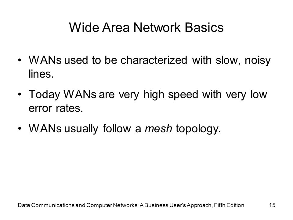 Wide Area Network Basics WANs used to be characterized with slow, noisy lines.