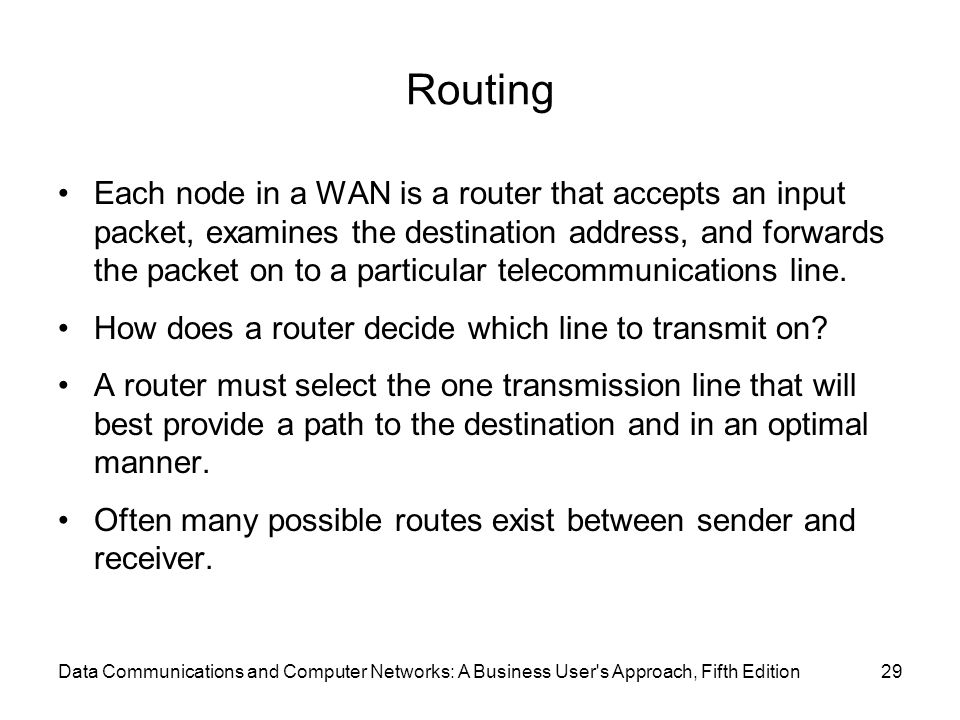 Routing Each node in a WAN is a router that accepts an input packet, examines the destination address, and forwards the packet on to a particular telecommunications line.