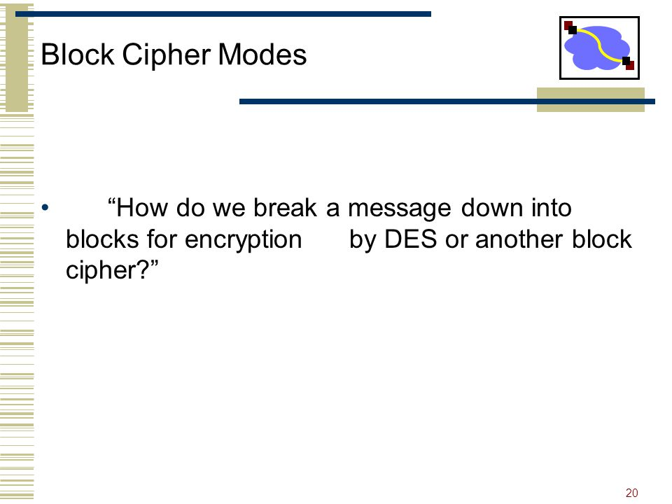 20 Block Cipher Modes How do we break a message down into blocks for encryption by DES or another block cipher