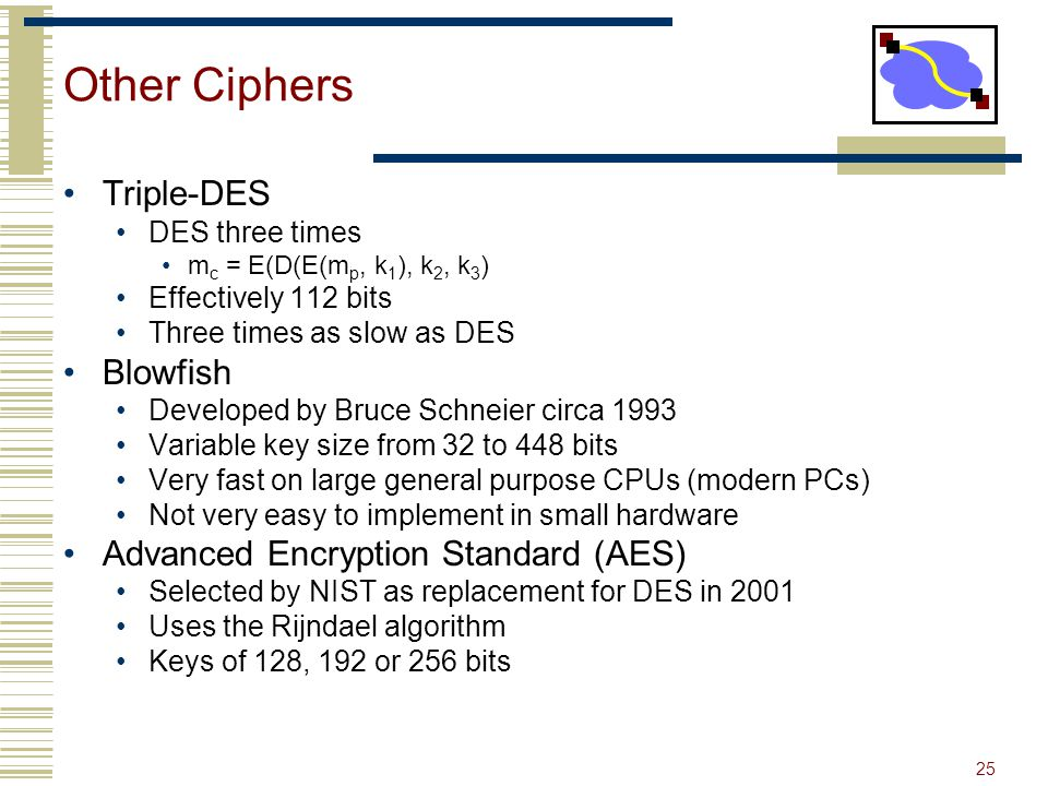 25 Other Ciphers Triple-DES DES three times m c = E(D(E(m p, k 1 ), k 2, k 3 ) Effectively 112 bits Three times as slow as DES Blowfish Developed by Bruce Schneier circa 1993 Variable key size from 32 to 448 bits Very fast on large general purpose CPUs (modern PCs) Not very easy to implement in small hardware Advanced Encryption Standard (AES) Selected by NIST as replacement for DES in 2001 Uses the Rijndael algorithm Keys of 128, 192 or 256 bits