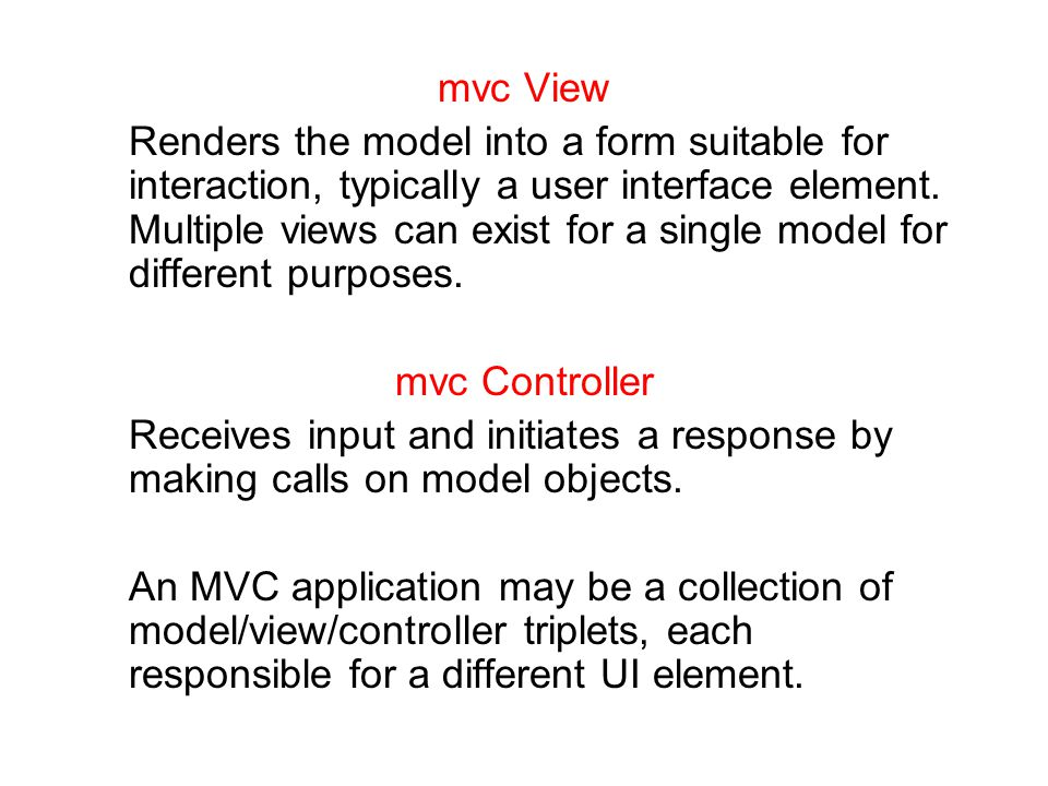 mvc View Renders the model into a form suitable for interaction, typically a user interface element.