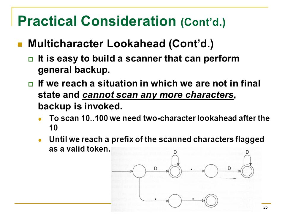 25 Practical Consideration (Cont'd.) Multicharacter Lookahead (Cont'd.)  It is easy to build a scanner that can perform general backup.