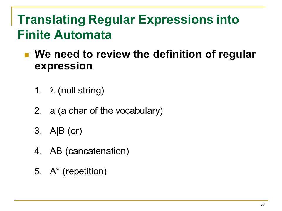 30 Translating Regular Expressions into Finite Automata We need to review the definition of regular expression 1.