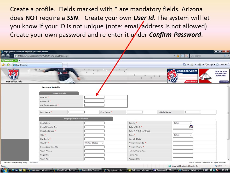 Create a profile. Fields marked with * are mandatory fields.