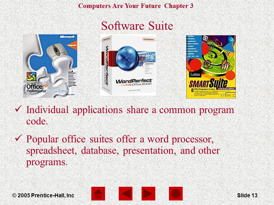 Computers Are Your Future Chapter 3 © 2005 Prentice-Hall, IncSlide 13 Software Suite Individual applications share a common program code.
