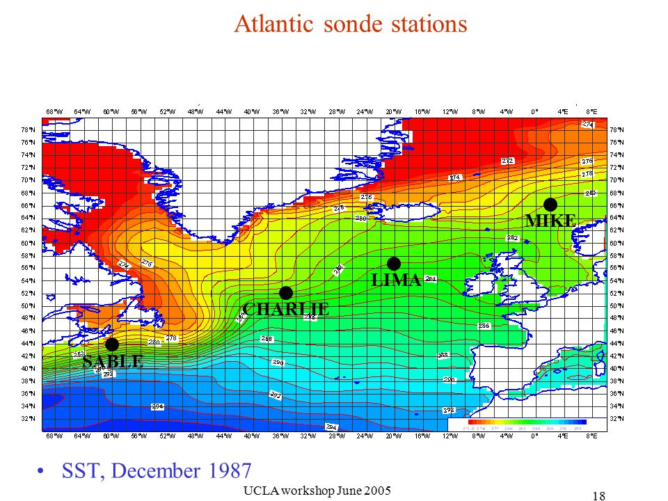 UCLA workshop June Atlantic sonde stations SST, December 1987 SABLE CHARLIE LIMA MIKE