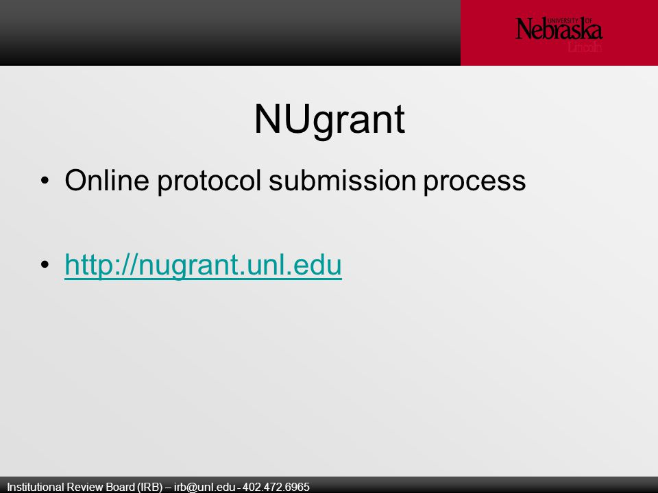 Institutional Review Board (IRB) – NUgrant Online protocol submission process