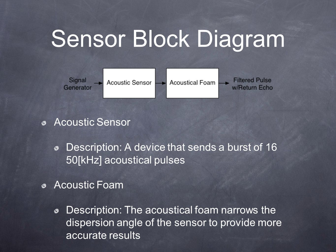 Sensor Block Diagram Acoustic Sensor Description: A device that sends a burst of 16 50[kHz] acoustical pulses Acoustic Foam Description: The acoustical foam narrows the dispersion angle of the sensor to provide more accurate results