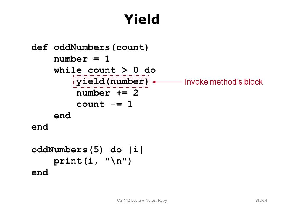 CS 142 Lecture Notes: RubySlide 1 Basic Ruby Syntax sum = 0