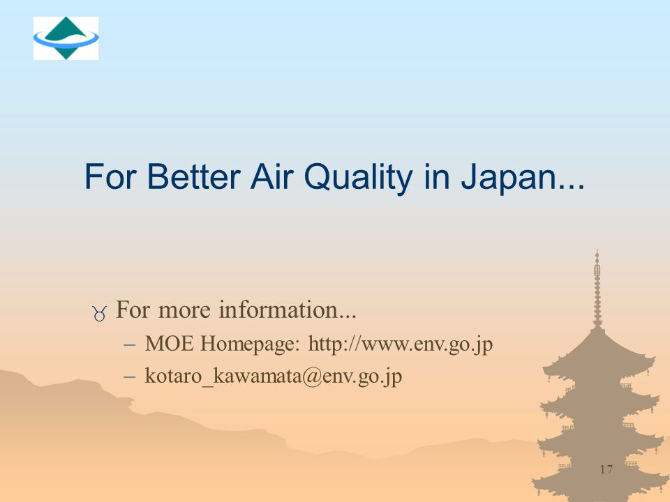 17 For Better Air Quality in Japan... _ For more information...