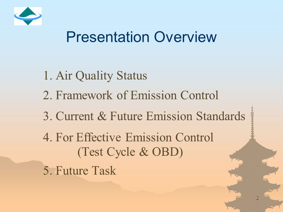 2 Presentation Overview 1. Air Quality Status 2. Framework of Emission Control 3.