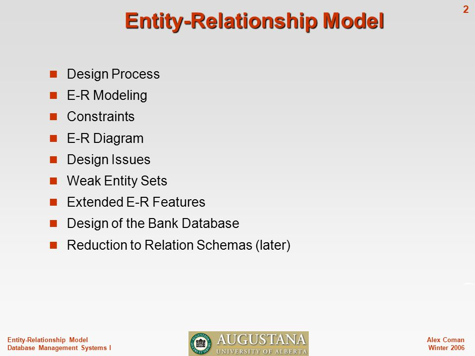 Alex Coman Winter Entity-Relationship Model Database Management Systems I Entity-Relationship Model Design Process E-R Modeling Constraints E-R Diagram Design Issues Weak Entity Sets Extended E-R Features Design of the Bank Database Reduction to Relation Schemas (later)