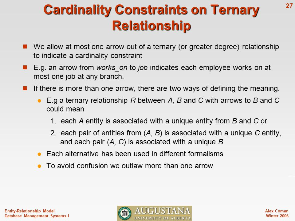 Alex Coman Winter Entity-Relationship Model Database Management Systems I Cardinality Constraints on Ternary Relationship We allow at most one arrow out of a ternary (or greater degree) relationship to indicate a cardinality constraint E.g.