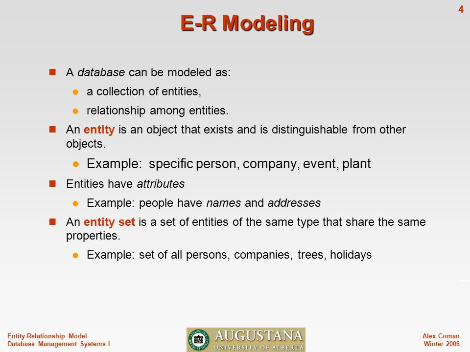 Alex Coman Winter Entity-Relationship Model Database Management Systems I E-R Modeling A database can be modeled as: a collection of entities, relationship among entities.