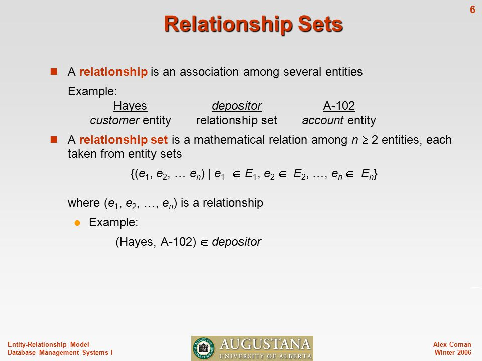 Alex Coman Winter Entity-Relationship Model Database Management Systems I Relationship Sets A relationship is an association among several entities Example: HayesdepositorA-102 customer entityrelationship setaccount entity A relationship set is a mathematical relation among n  2 entities, each taken from entity sets {(e 1, e 2, … e n ) | e 1  E 1, e 2  E 2, …, e n  E n } where (e 1, e 2, …, e n ) is a relationship Example: (Hayes, A-102)  depositor