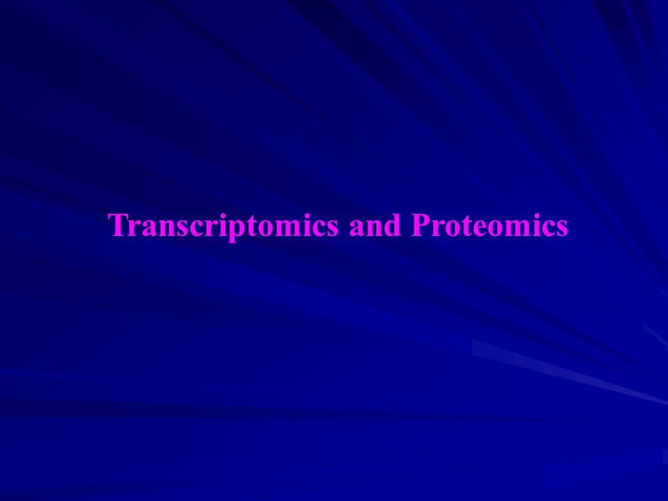 Transcriptomics and Proteomics