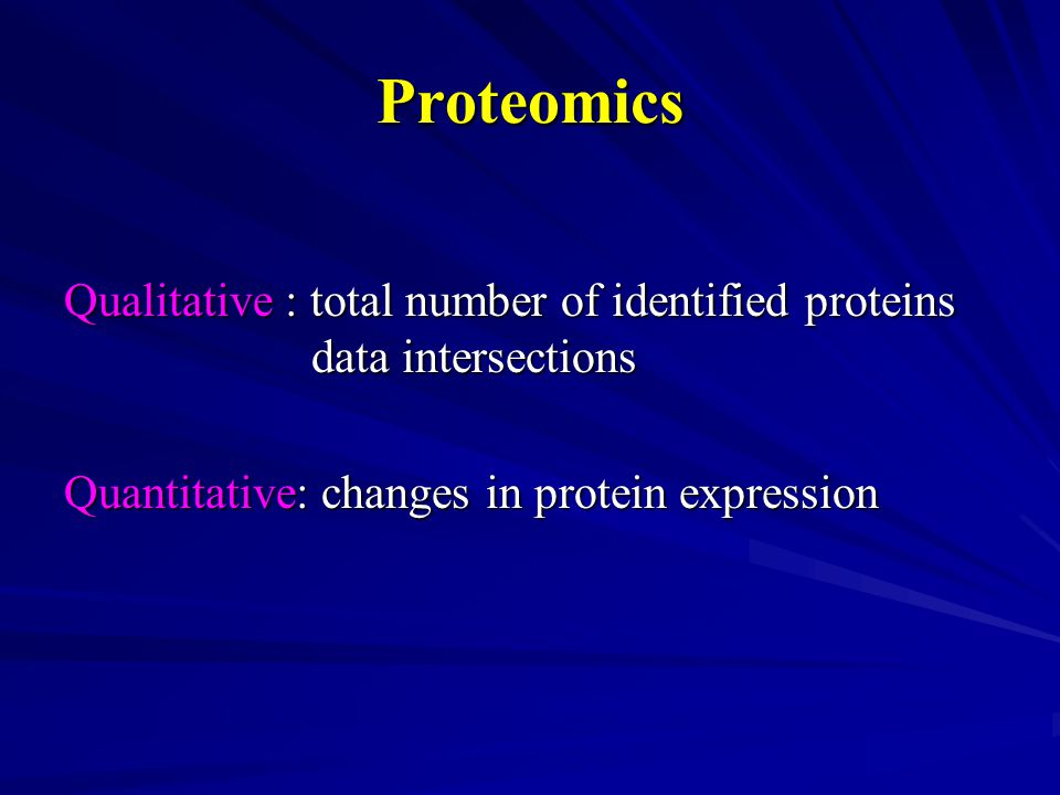 Qualitative : total number of identified proteins data intersections Quantitative: changes in protein expression Proteomics