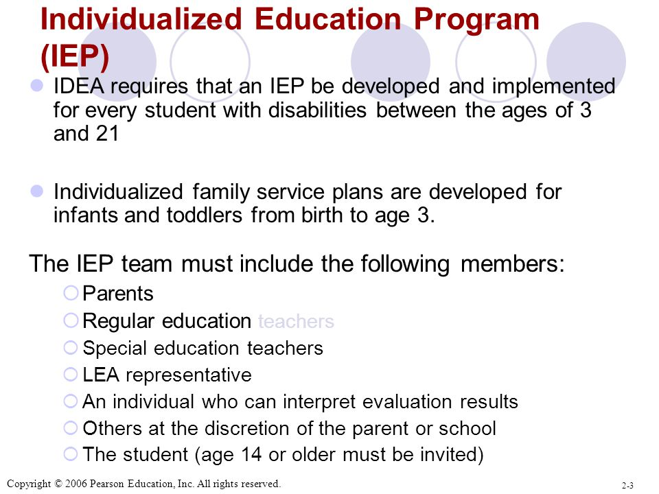 Individualized Education Program (IEP) IDEA requires that an IEP be developed and implemented for every student with disabilities between the ages of 3 and 21 Individualized family service plans are developed for infants and toddlers from birth to age 3.