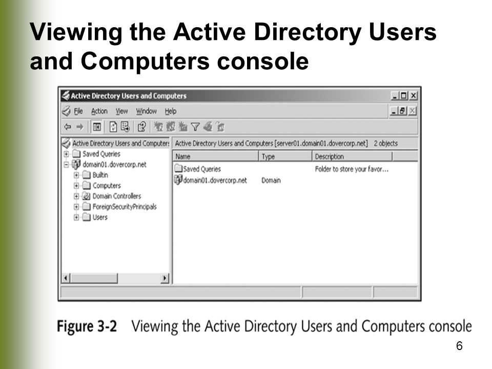 6 Viewing the Active Directory Users and Computers console