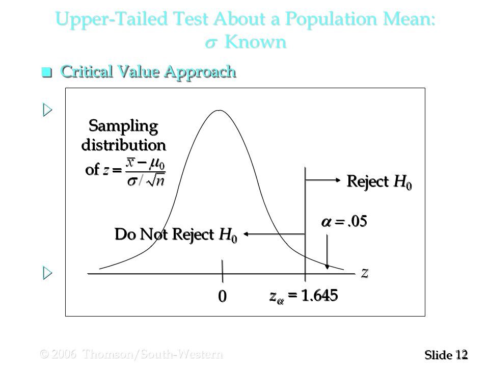 12 Slide © 2006 Thomson/South-Western  0 0 z  = Reject H 0 Do Not Reject H 0 z Sampling distribution of Sampling distribution of Upper-Tailed Test About a Population Mean:  Known n Critical Value Approach