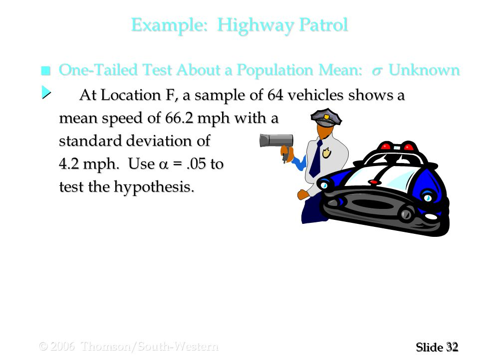 32 Slide © 2006 Thomson/South-Western Example: Highway Patrol One-Tailed Test About a Population Mean:  Unknown One-Tailed Test About a Population Mean:  Unknown At Location F, a sample of 64 vehicles shows a At Location F, a sample of 64 vehicles shows a mean speed of 66.2 mph with a standard deviation of 4.2 mph.